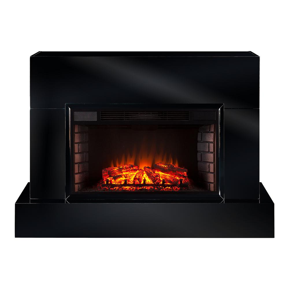 Mendelyn 57 in. TV Stand Electric Fireplace in High Gloss Black