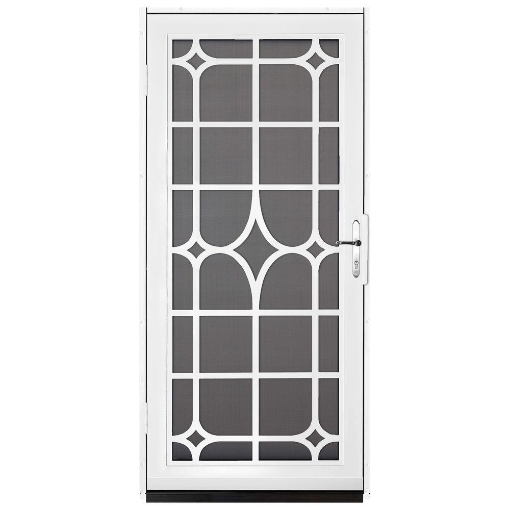 Unique Home Designs 36 In. X 80 In. Lexington White Surface Mount Steel  Security Door With Insect Screen And Brass Hardware IDR30000362135   The  Home Depot