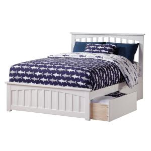 Mission White Full Platform Bed with Matching Foot Board with 2-Urban Bed Drawers