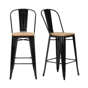 Astonishing Stylewell Finwick Black Metal Bar Stool With Back And Wood Machost Co Dining Chair Design Ideas Machostcouk