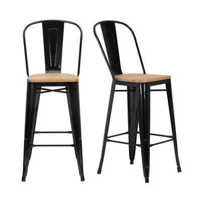 Finwick Black Metal Bar Stool with Back and Wood Seat (Set of 2) (17.72 in. W x 43.9 in. H)