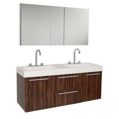 Opulento 54 in. Double Vanity in Walnut with Acrylic Vanity Top in White with White Basins and Mirrored Medicine Cabinet
