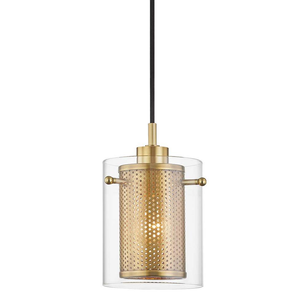 Elanor 1-Light Aged Brass Pendant