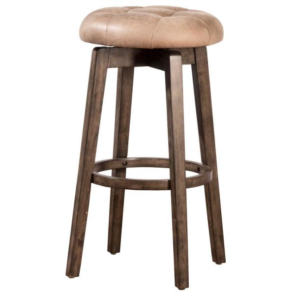 Pleasant Odette 26 25 In Rustic Gray And Taupe Backless Swivel Counter Stool Pdpeps Interior Chair Design Pdpepsorg