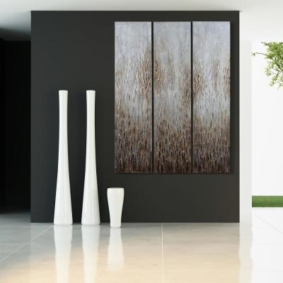 """72 in. x 18 in. """"Dreamy Field"""" - Set of 3 Textured Metallic Hand Painted by Martin Edwards Wall Art"""