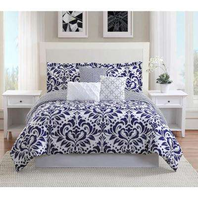 Anson 7-Piece Navy Reversible King Comforter Set