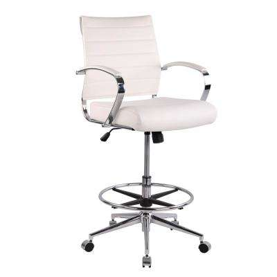 Tremaine Drafting White Chair in Vegan Leather