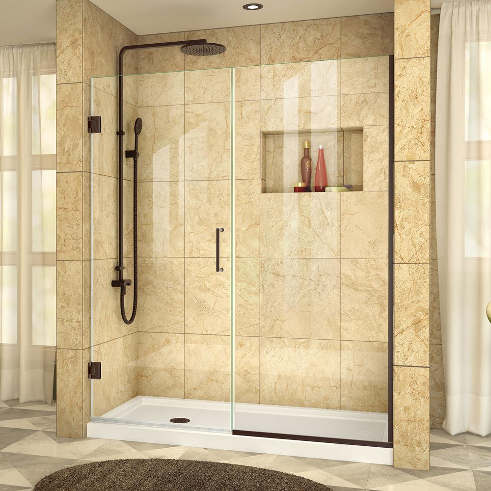 DreamLine Unidoor Plus 57 in. to 57-1/2 in. x 72 in. Semi-Frameless Pivot Shower Door in Oil Rubbed Bronze with Handle