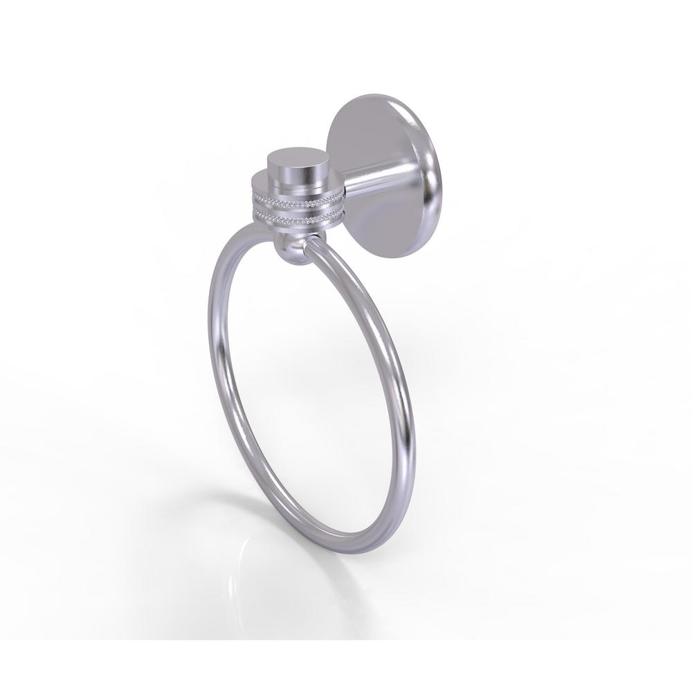 Allied Brass Satellite Orbit One Collection Towel Ring with Dotted Accent in Satin Chrome