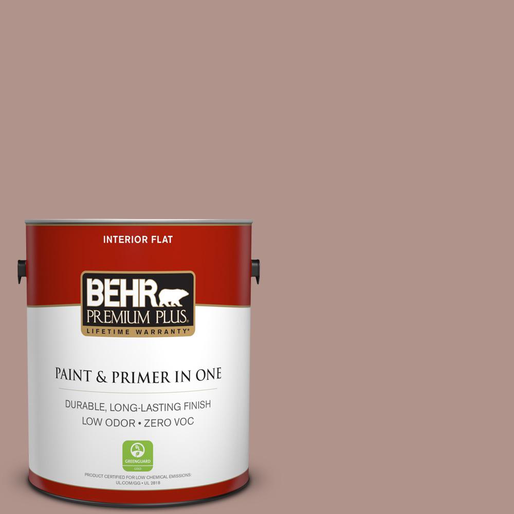 BEHR Premium Plus 1 gal. #180F-4 Desert Willow Flat Zero VOC Interior Paint and Primer in One