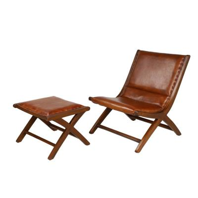 Golden Brown Teak Wood and Top Grain Leather Chair and Ottoman Set