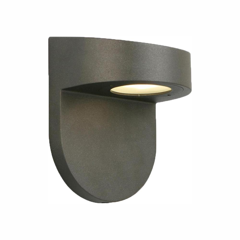 Hampton Bay Black Outdoor LED Wall Lantern Sconce with Frosted Glass
