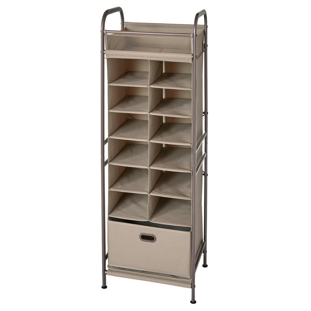 12-Cubby Fabric Vertical Closet Organizer