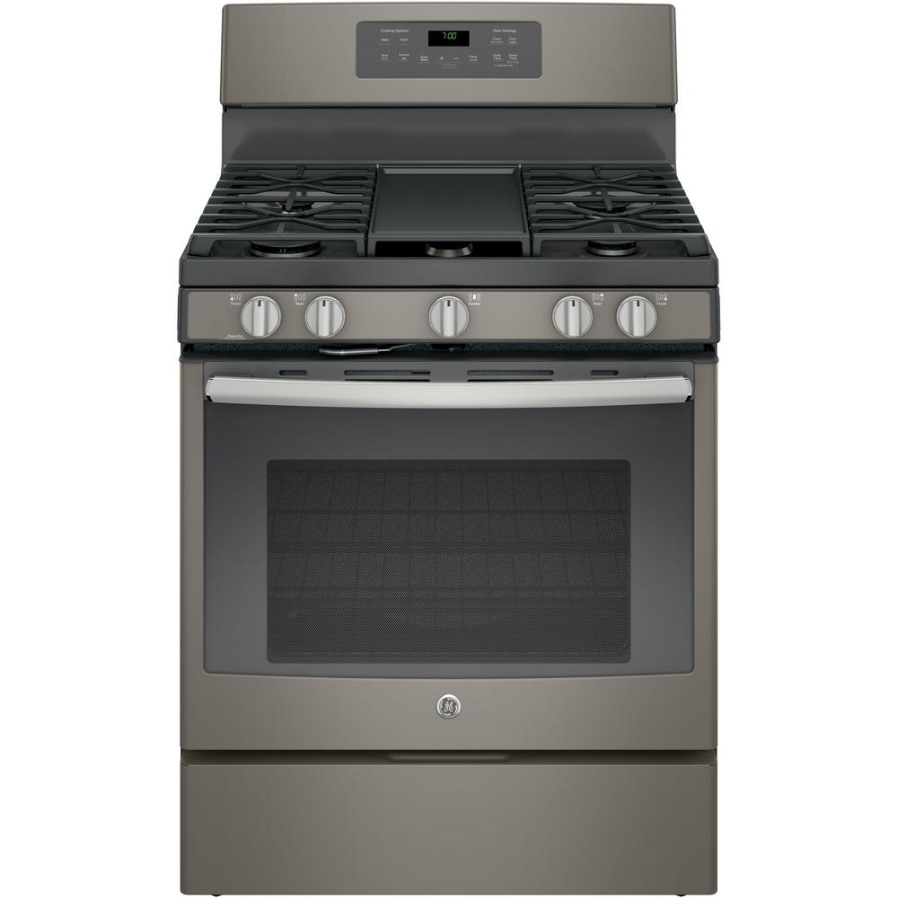 Ge 5 0 Cu Ft Gas Range With Self Cleaning Convection Oven In Slate Fingerprint Resistant
