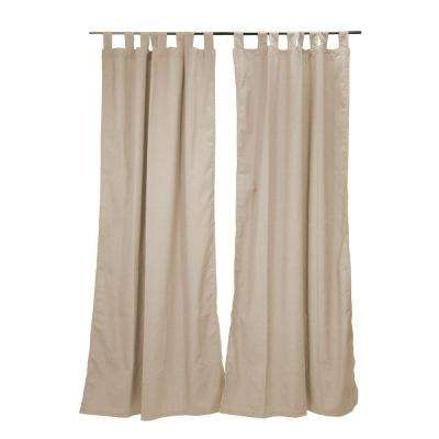 50 in. x 96 in. Parchment Outdoor Tab Top Curtain Panel