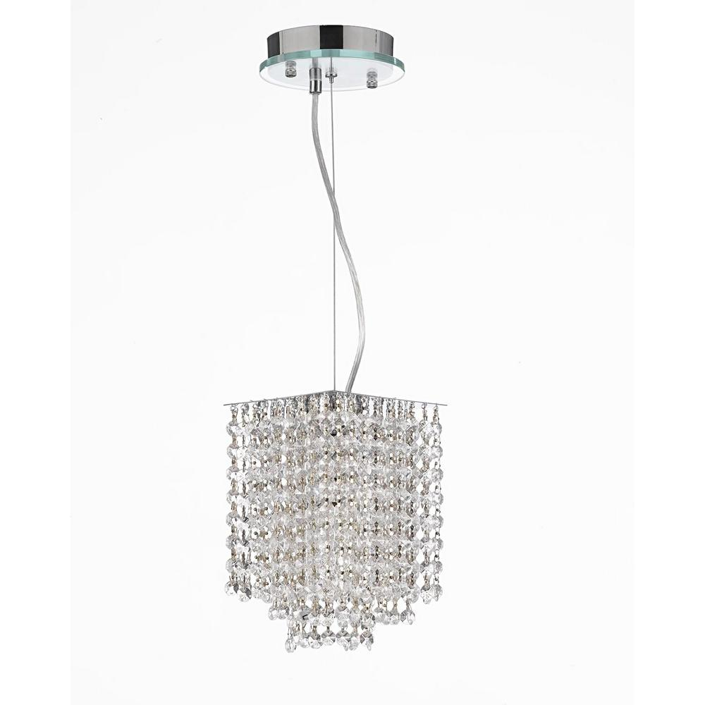 Modern 1 Light Clear Crystal Contemporary Pendant Chandelier