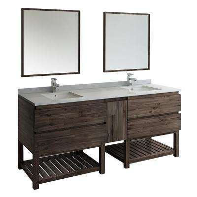 84 in. Double Vanity with Open Bottom in Warm Gray with Quartz Stone Vanity Top in White with White Basins and Mirror