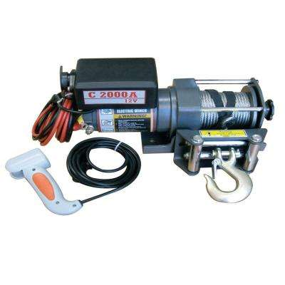 2,000 lb. Capacity 12-Volt Electric Winch with 50 ft. Steel Cable