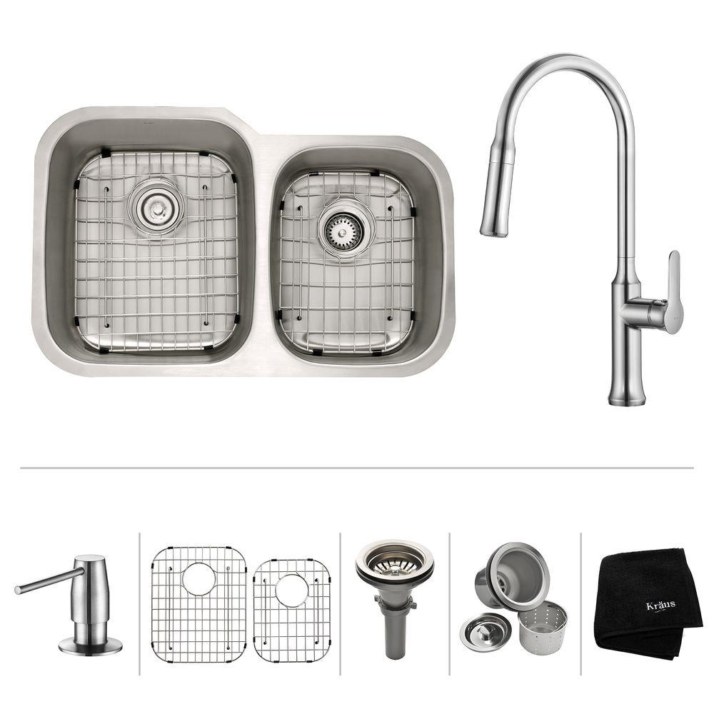 KRAUS All-in-One Undermount Stainless Steel 32 in. Double Bowl Kitchen Sink  with Faucet and Accessories in Chrome