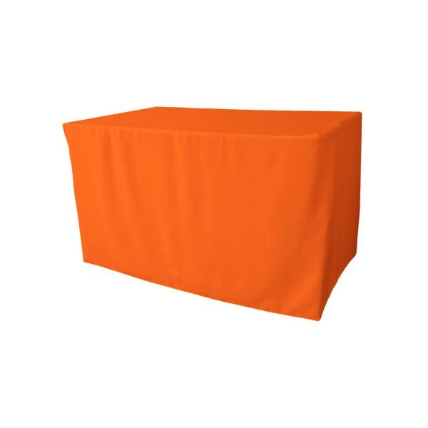 48 in. L x 24 in. W x 30 in. H Orange Polyester Poplin Fitted Tablecloth