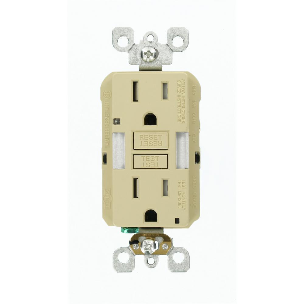 15-Amp Self-Test Smartlockpro Combo Duplex Guide Light And Tamper Resistant Gfci Outlet, Ivory