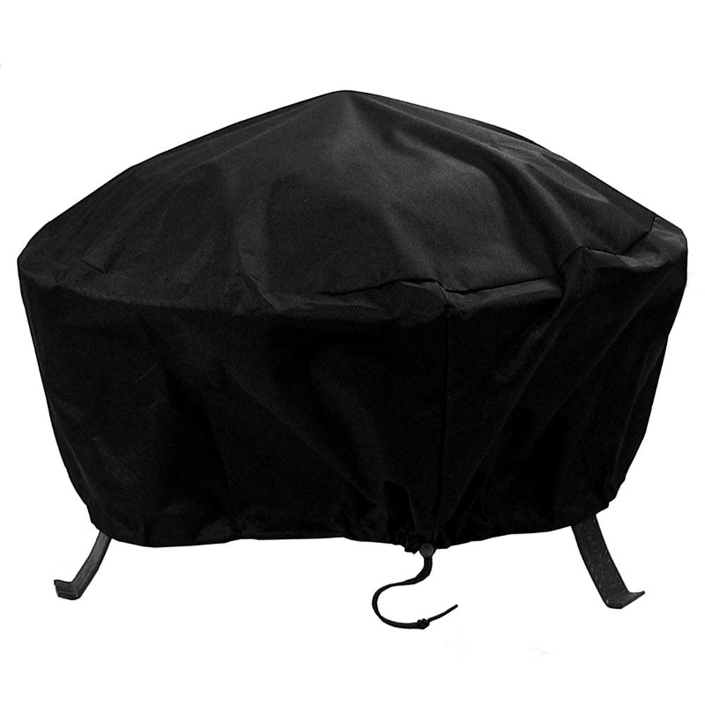 Sunnydaze Decor 30 in. Black Round Fire Pit Cover Heavy-Duty 300D Polyester