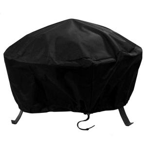 30 in. Black Round Fire Pit Cover Heavy-Duty 300D Polyester