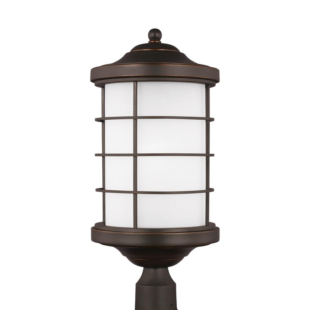 Sea gull lighting sauganash 1 light outdoor antique bronze post sea gull lighting sauganash 1 light outdoor antique bronze post light with led bulb sciox Images