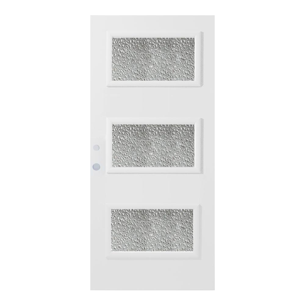 33.375 in. x 82.375 in. Dorothy Diamond 3 Lite Painted White Steel Prehung Front Door