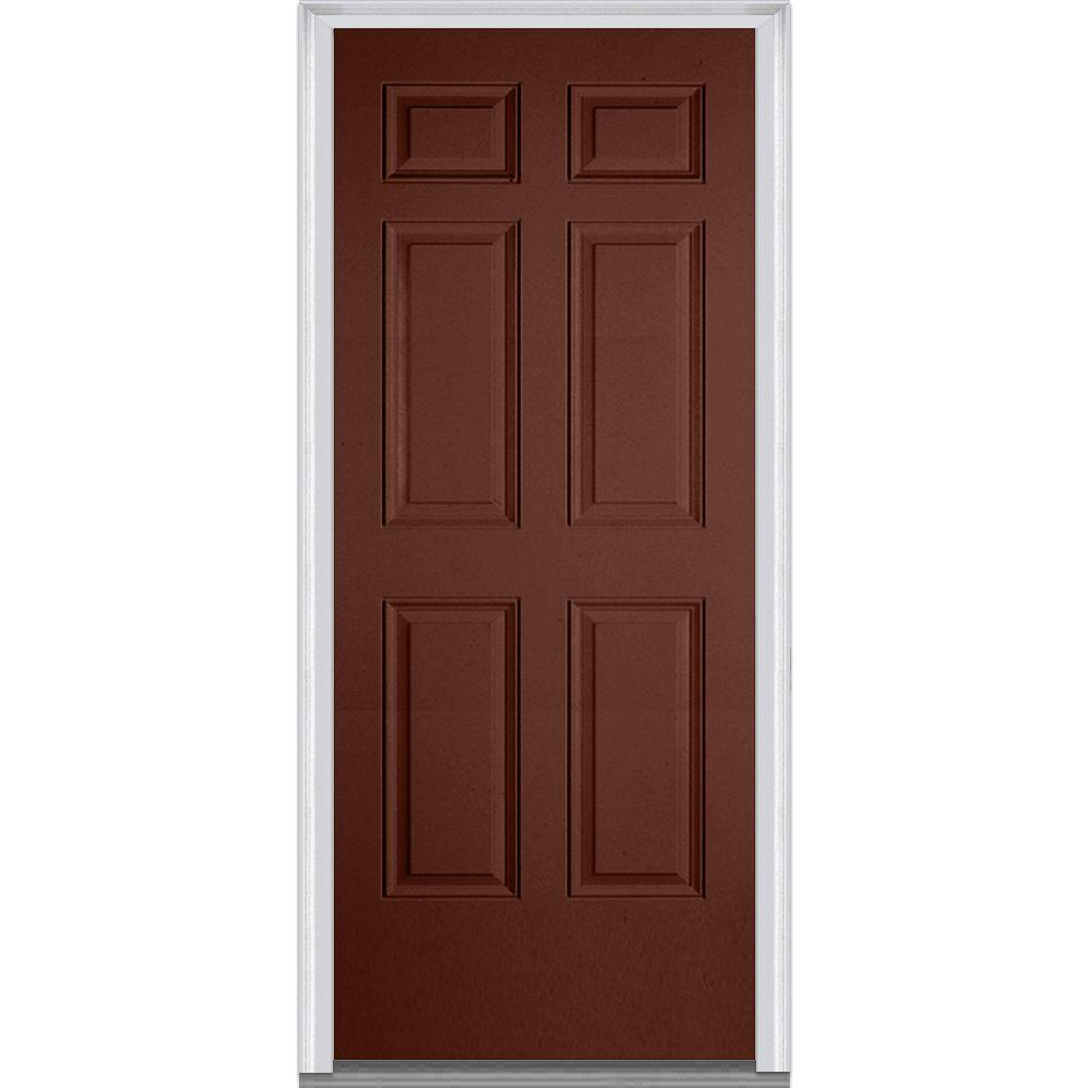 Mmi Door 36 In X 80 In Right Hand Inswing 6 Panel Classic Painted Fiberglass Smooth Prehung