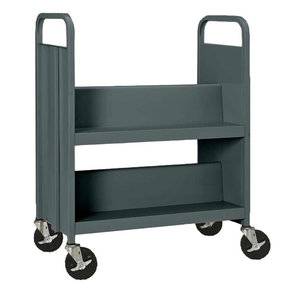 Sandusky 33 in. W x 18 in. D x 40 in. H Heavy Duty Steel Sloped Shelf Book/Utility Truck
