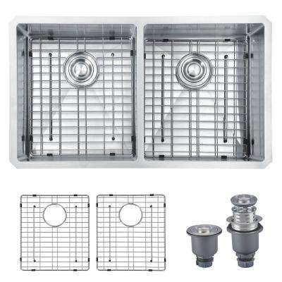 Handmade 33 in. 16-Gauge Stainless Steel Undermount 50/50 Double Bowl Modern Kitchen Sink