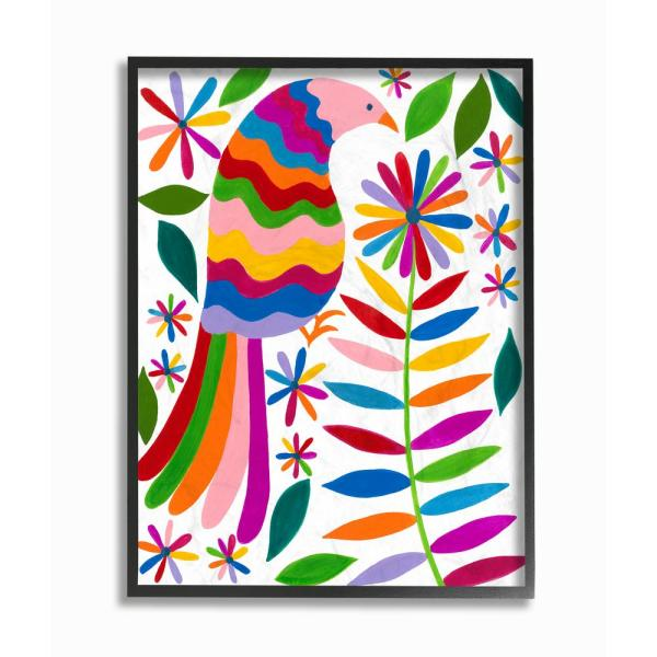 The Stupell Home Decor Collection 24 In X 30 In Folk Art Style Rainbow Feathered Bird And Daisy Flowers By Regina Moore Framed Wall Art Aap 273 Fr 24x30 The Home Depot