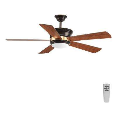 Harranvale Collection 54 in. LED Indoor Antique Bronze Industrial Ceiling Fan with Light Kit and Remote