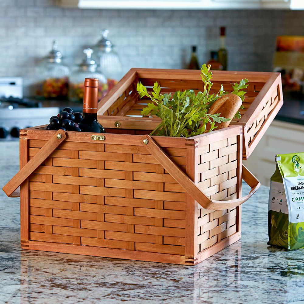 14.2 in. x 14.2 in. Bamboo Poplar Picnic Basket in Natural