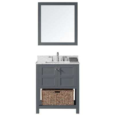 Makena 30 in. W x 22 in. D x 34.2 in. H Bath Vanity in Cashmere Greyw/Marble Vanity Top in Whitew/White Basin & Mirror