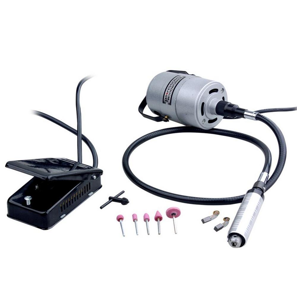 Heavy-Duty 1//4 HP Flex Shaft Grinder /& Carver Foot Pedal Control