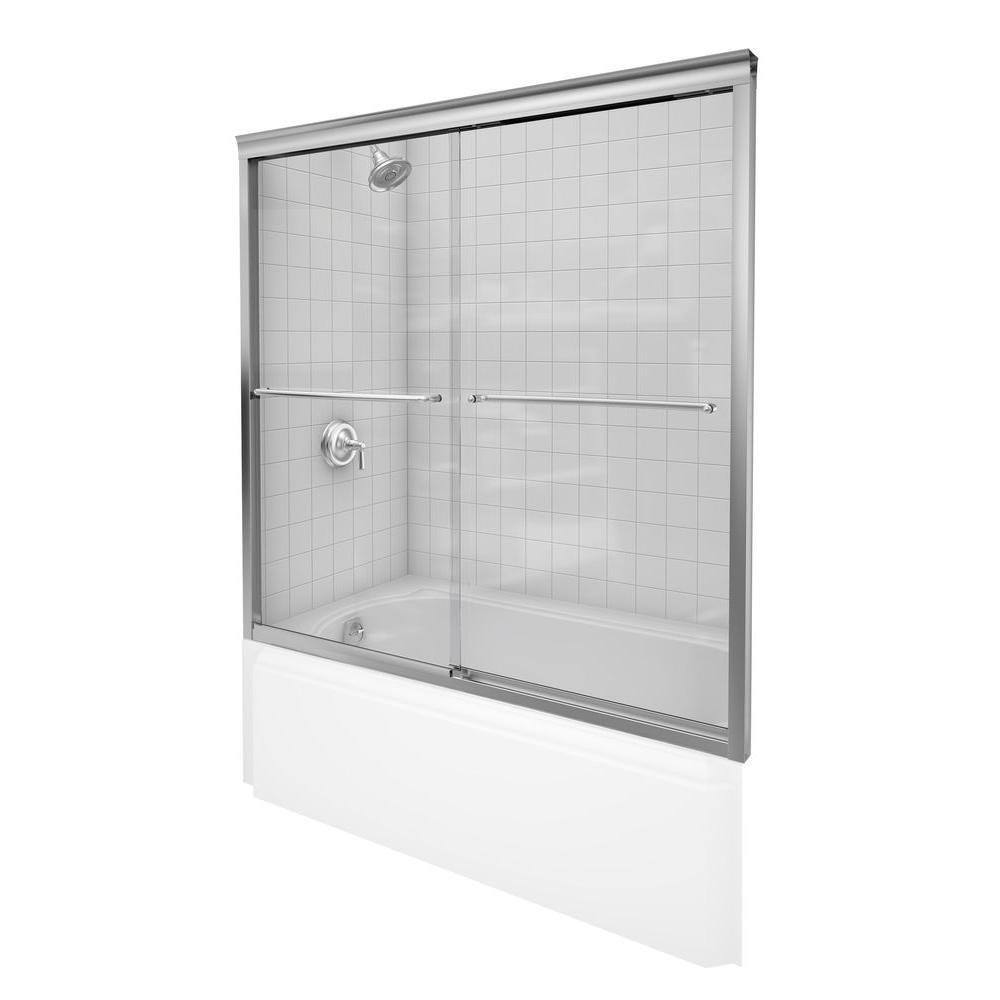 KOHLER Fluence 57 in. x 55-3/4 in. Semi-Frameless Sliding Tub Door ...