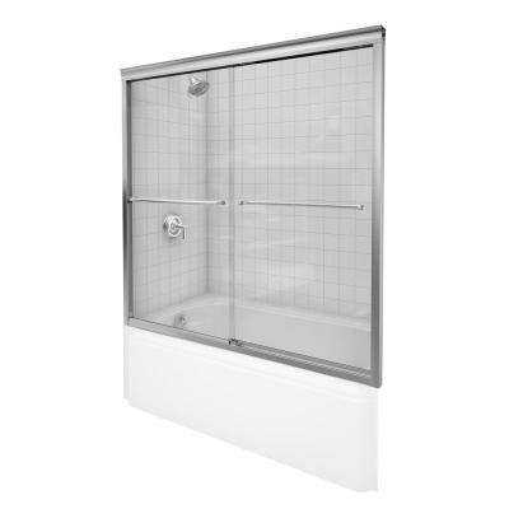 Fluence 57 in. x 55-3/4 in. Semi-Frameless Sliding Tub Door Door in Matte Nickel with Handle