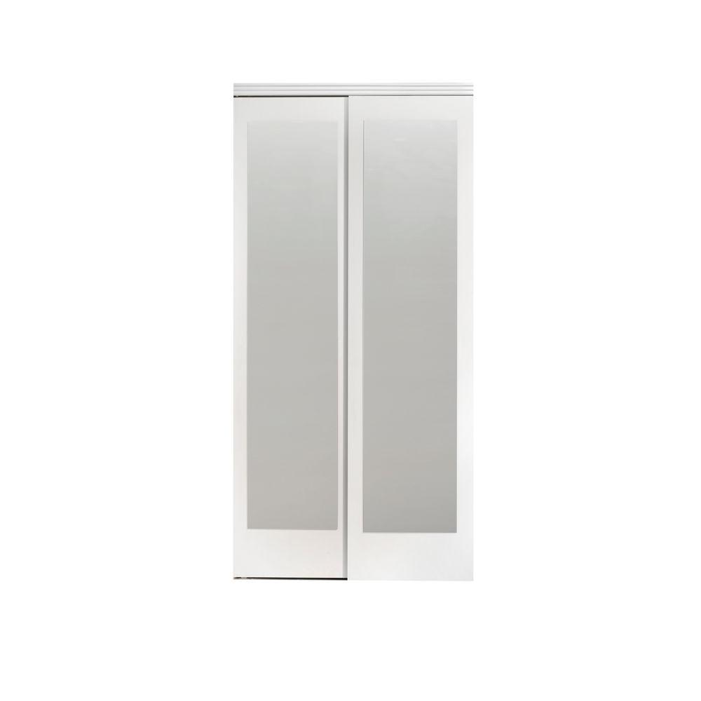 Mirror door sliding doors interior closet doors the home depot 60 in x 80 in mir mel white mirror solid core mdf planetlyrics Images
