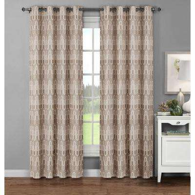 Semi-Opaque Juneau Printed Cotton Extra Wide 96 in. L Grommet Curtain Panel Pair, Linen (Set of 2)