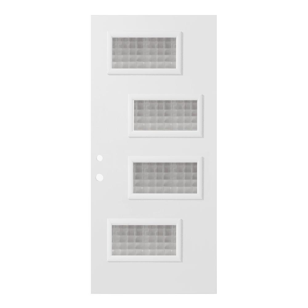 36 in. x 80 in. Beatrice Carre 4 Lite Painted White