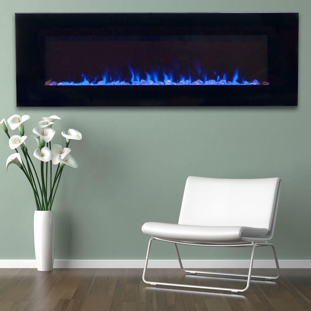 Northwest 54 In Led Fire And Ice Electric Fireplace With Remote In Black 80 2000a 54 The Home