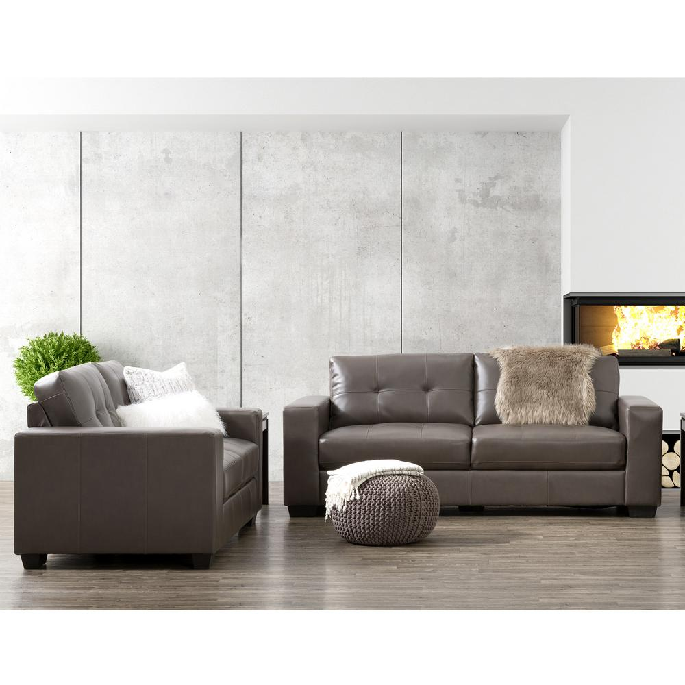 Club 2-Piece Tufted Brownish-Grey Bonded Leather Sofa Set