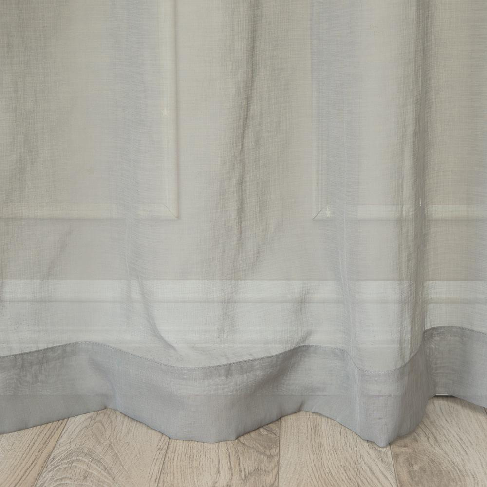Best Home Fashion 84 In L Grey Sheer Star Cut Out Curtain 2 Pack
