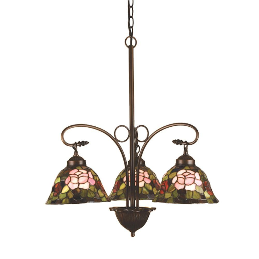 Illumine 3-Light Tiffany Rosebush Chandelier