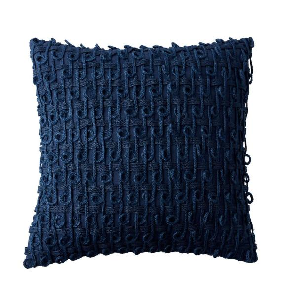 Embroidered Blue Geometric 18 in. x 18 in. Decorative Throw Pillow Cover