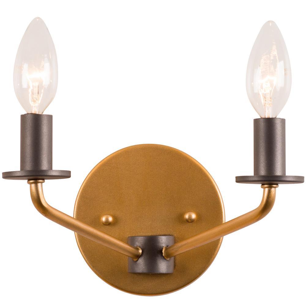 Varaluz Jake 2-Light Antique Gold with Rustic Bronze Bath Light ...
