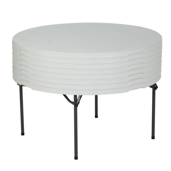 Lifetime 60 In White Plastic Round Stackable Folding Table 280301 The Home Depot