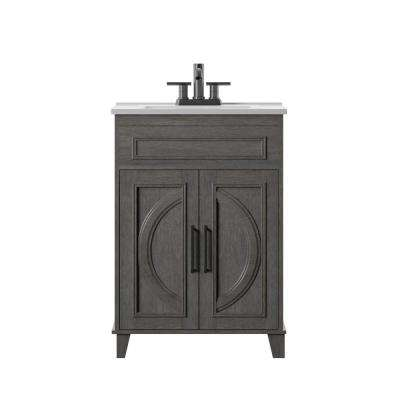 Genevieve 24 in. D x 18 in. W x 34 in. H Bath Vanity in Weathered Gray with Vanity Top in White and White Basin